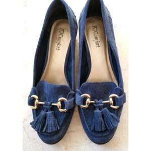 I Love Comfort blue suede Loafers flats shoes sz 8